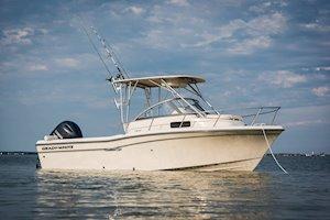 Grady-White Boats Adventure 208 20-foot Walkaround Cabin fishing boat starboard side