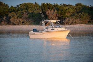 Grady-White Boats Adventure 208 20-foot Walkaround Cabin fishing boat at anchor