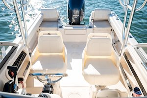 Grady-White Boats Adventure 208 20-foot Walkaround Cabin fishing boat helm and companion seating