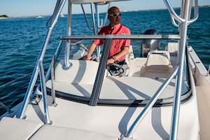 Grady-White Boats Adventure 208 20-foot Walkaround Cabin fishing boat windshield