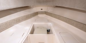 Grady-White Canyon 228 22-foot walkaround cabin fishing boat interior with storage and head
