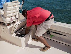 Grady-White Canyon 228 22-foot walkaround cabin fishing boat starboard side fish box