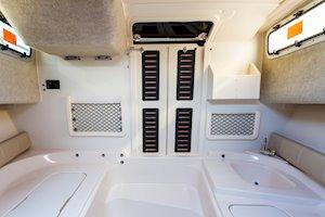 Grady-White Canyon 228 22-foot walkaround cabin fishing boat cabin interior aft