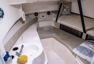 Grady-White Freedom 232 23-foot walkaround cabin fishing boat cabin interior