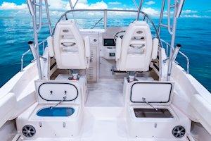 Grady-White Freedom 232 23-foot walkaround cabin fishing boat cockpit forward