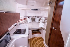 Grady-White Marlin 300 30-foot walkaround cabin boat interior with galley