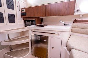 Grady-White Marlin 300 30-foot walkaround cabin boat interior galley and storage