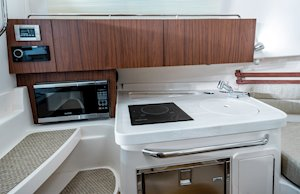 Grady-White Marlin 300 30-foot walkaround cabin boat interior galley storage and  stereo system