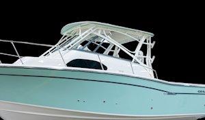 Grady-White Marlin 300 30-foot walkaround cabin boat painted hardtop frame