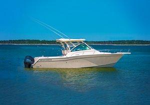 Grady-White Boats Express 330 33-foot Express Cabin Boat at anchor