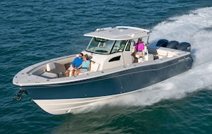 Grady-White Canyon 376 37-foot center console boat running bow forward