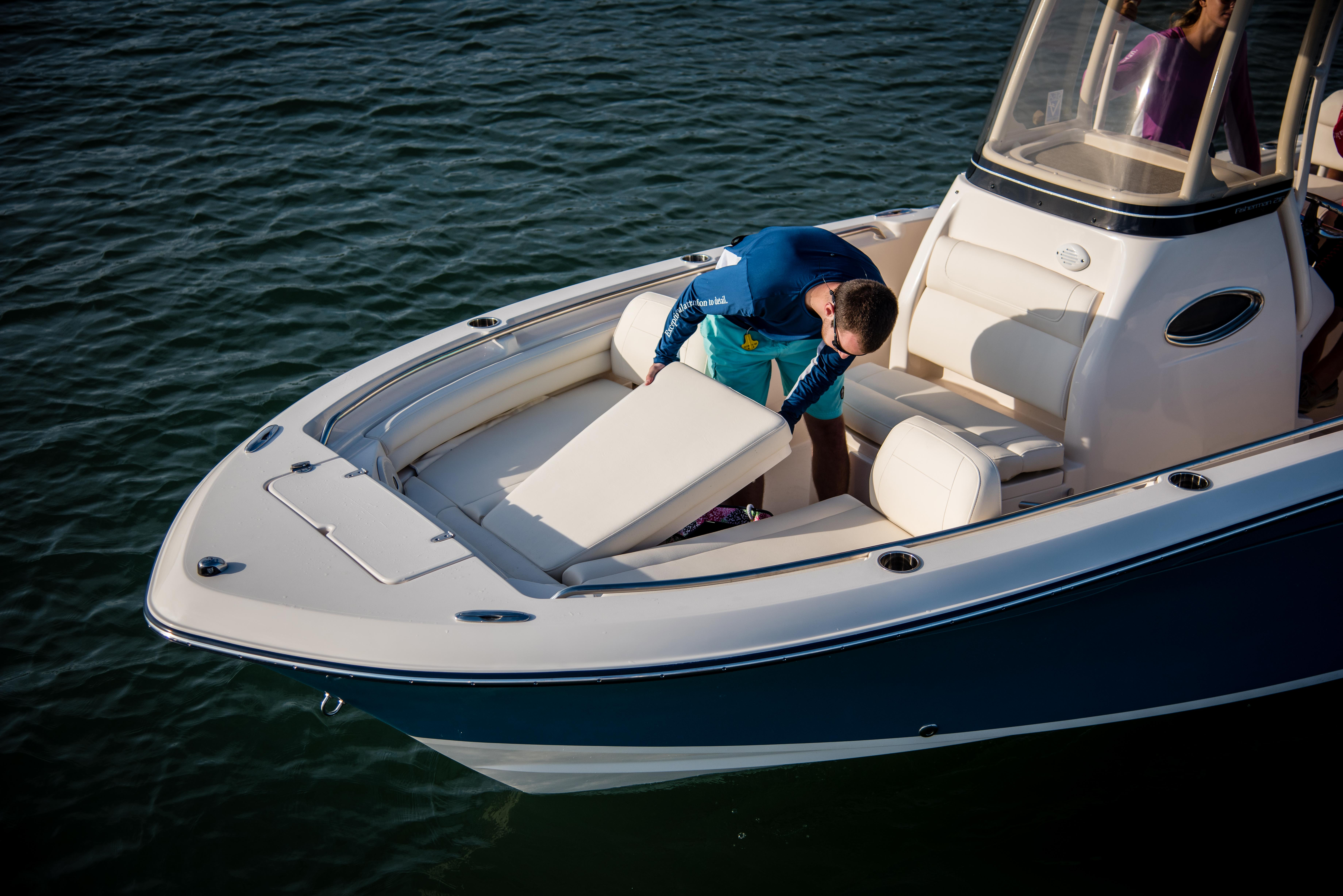 The Fisherman 216 has a bow insert for casting or use as a sun pad.