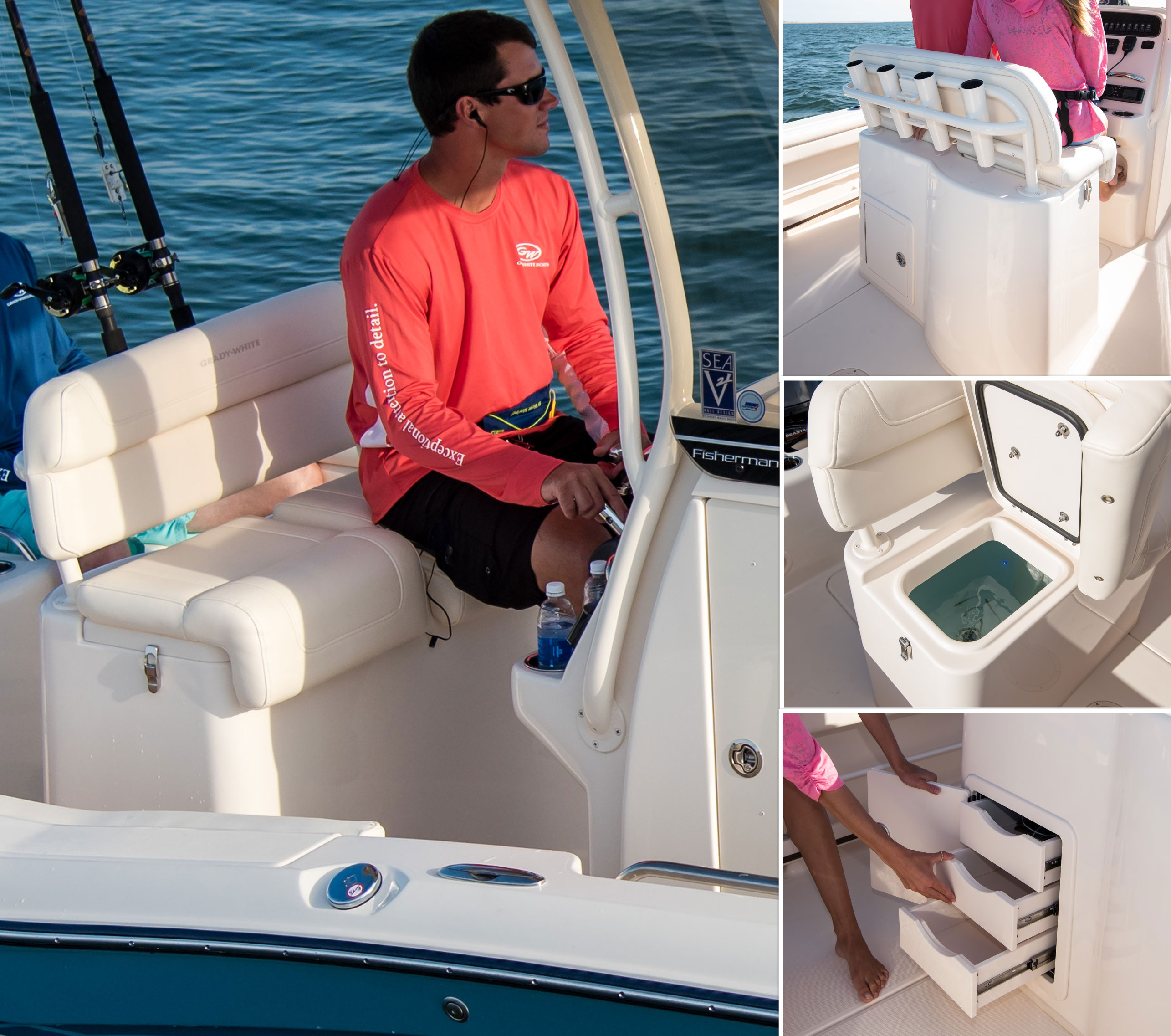 Fisherman 216 deluxe lean bar with livewell, lockable storage, tackle trays and four rod holders.