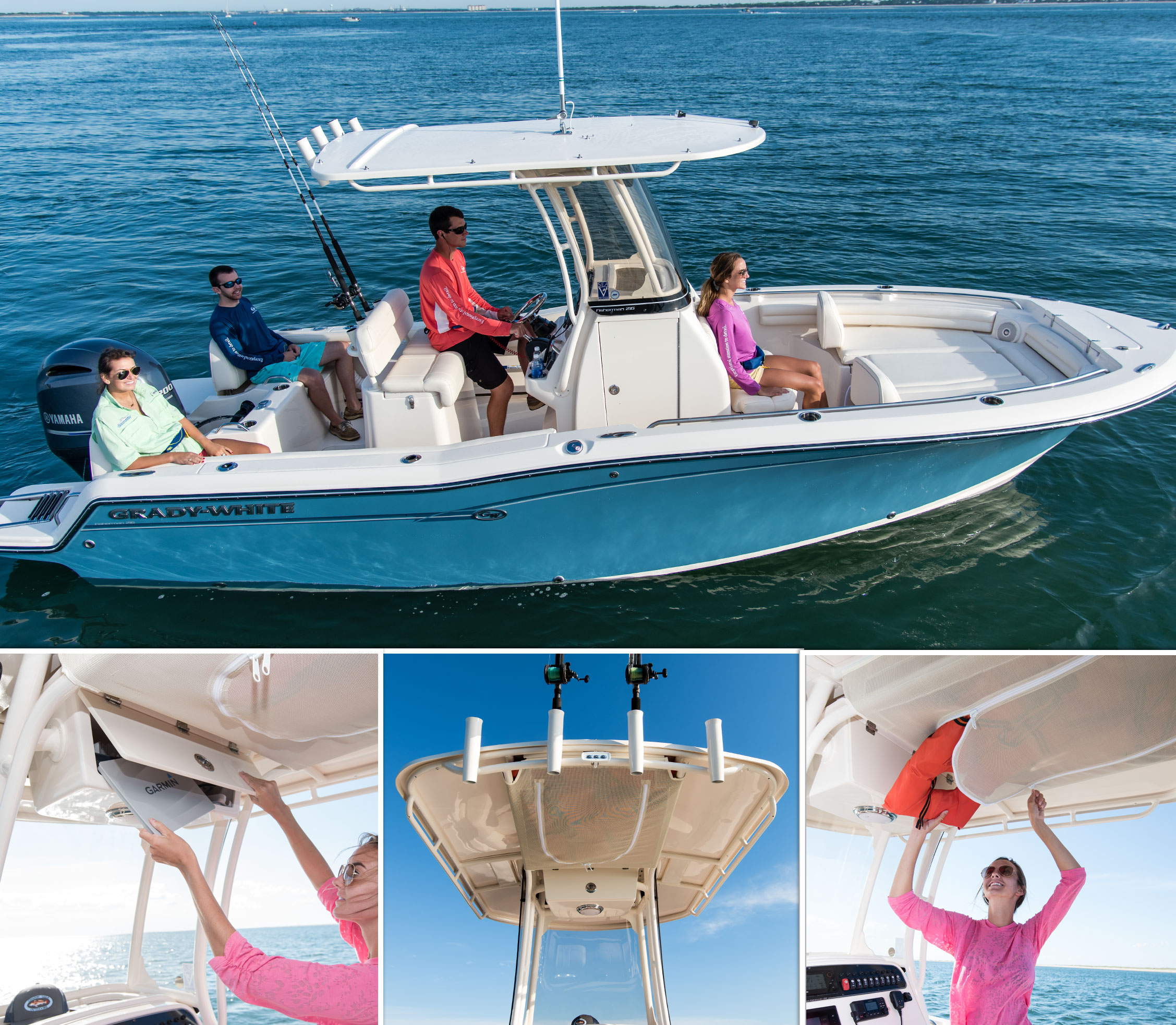 The Fisherman 216's optional T-top with radio box, storage net, rod holders and more.