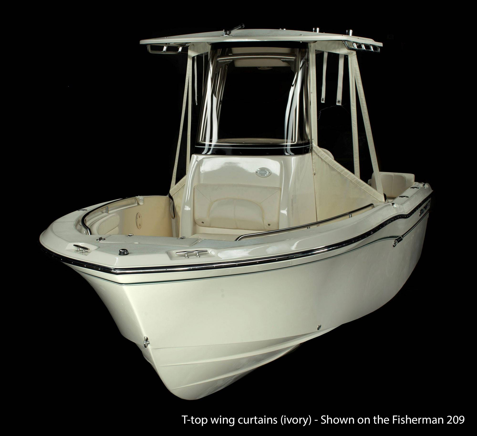 Optional T-top wing curtains protect you from wind and rain on this Fisherman 216.