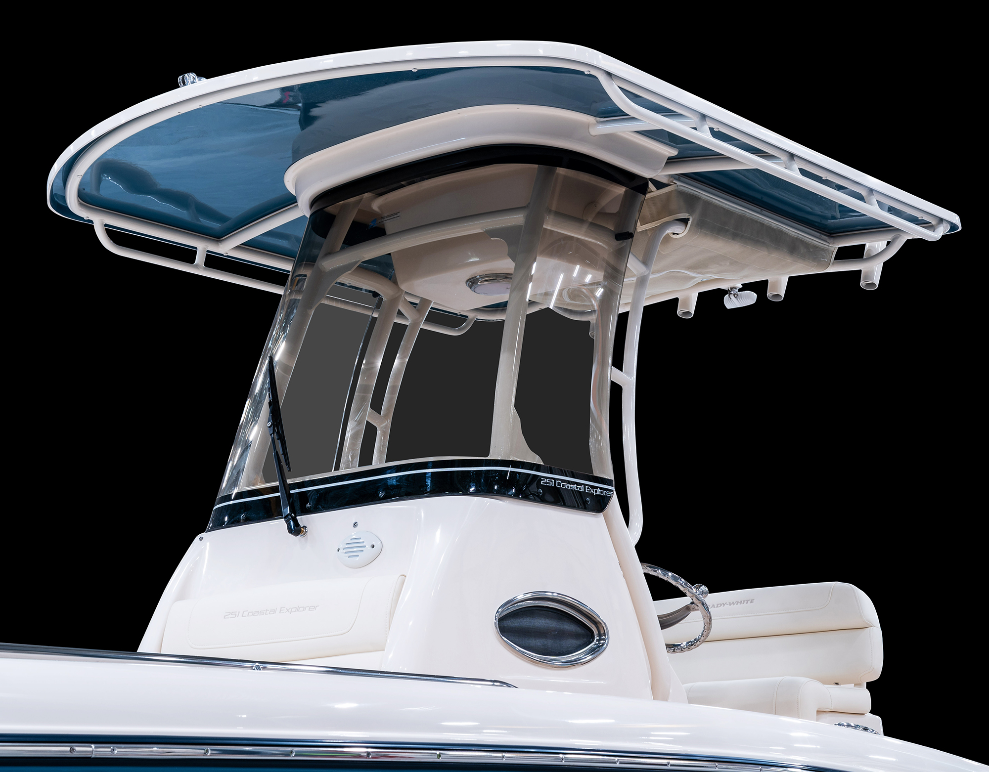 Grady-White 251 CE, 25-foot coastal explorer scratch resistant acrylic windshield integrated with T-top