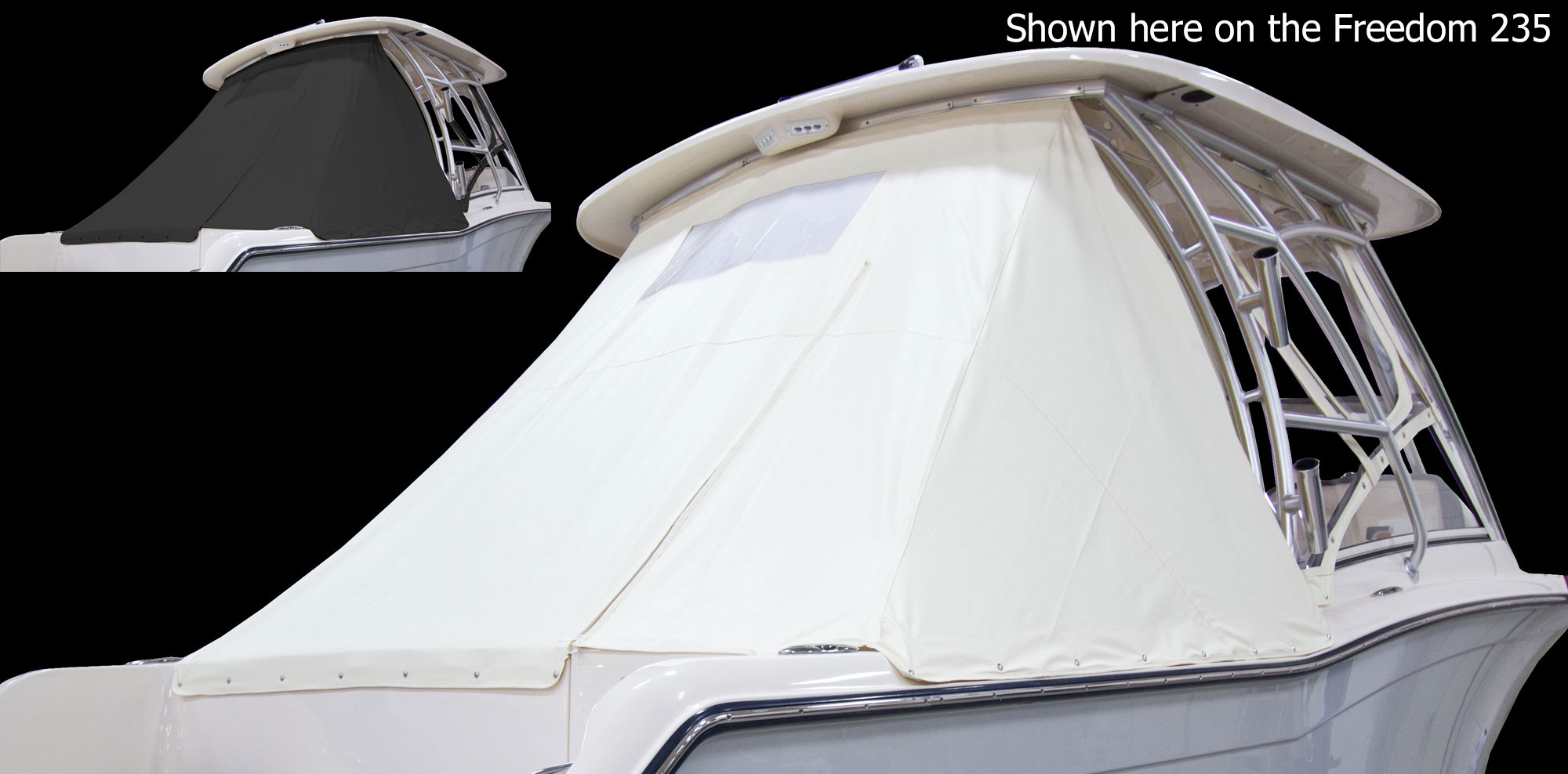 Grady-White Freedom 255 25-foot dual console ivory aft curtain