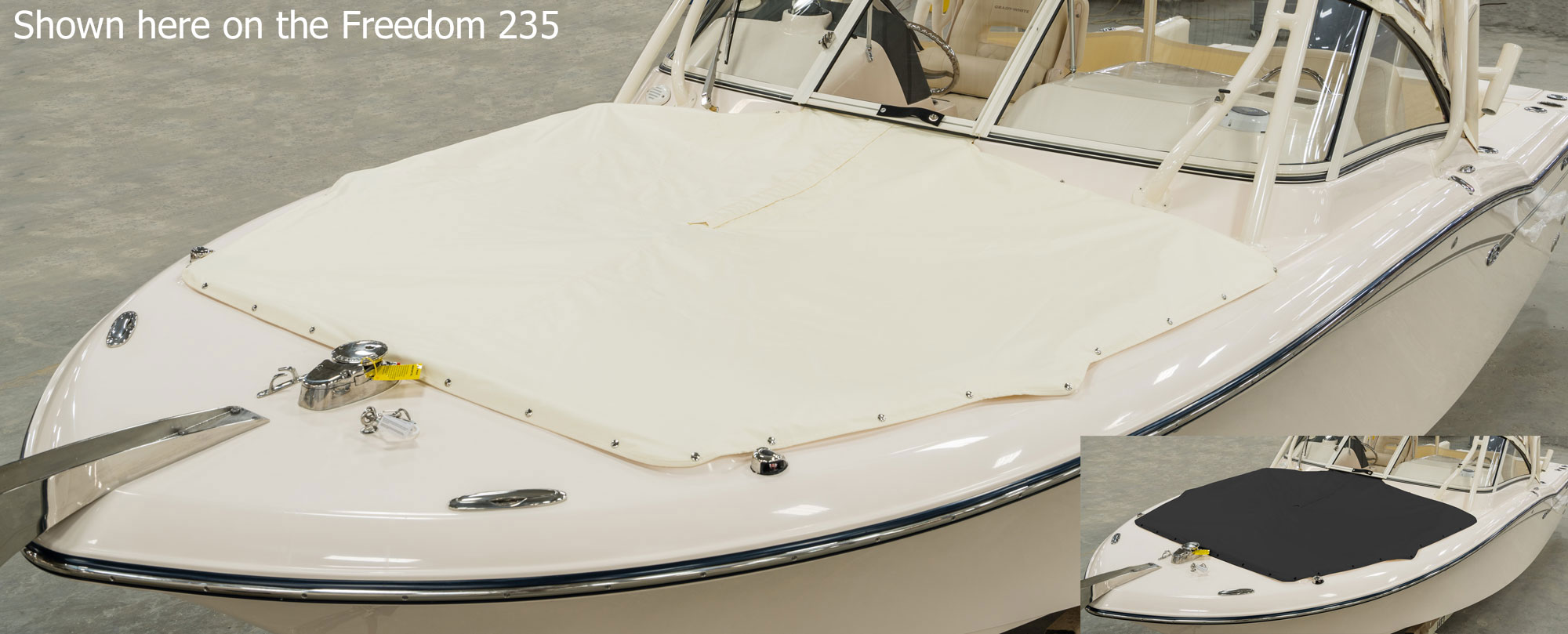 Grady-White Freedom 255 25-foot dual console ivory bow cover