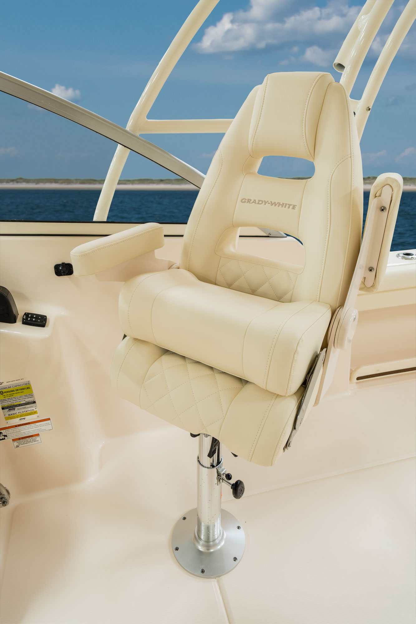 Grady-White Freedom 255 25-foot dual console Command Elite helm chair