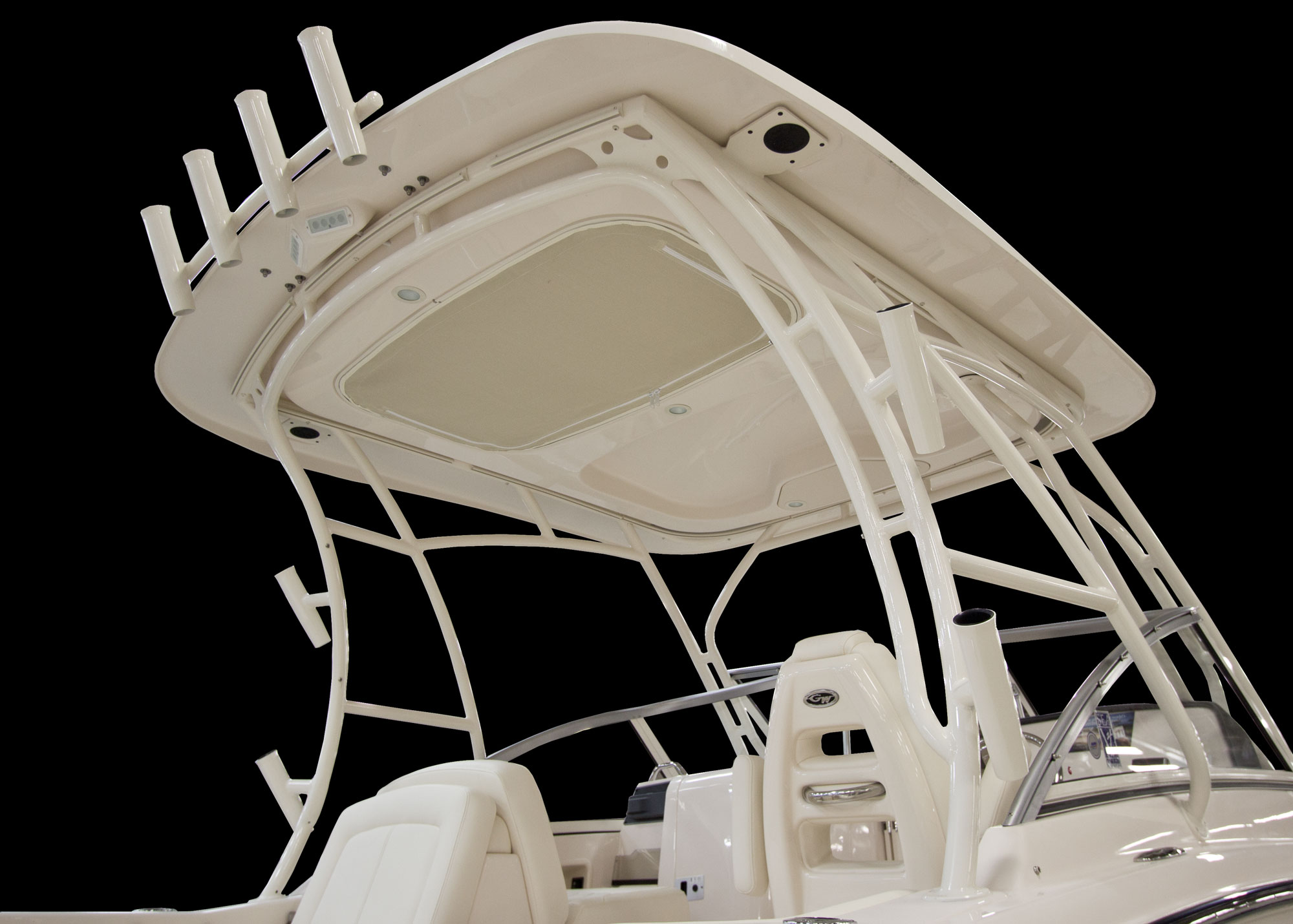 Grady-White Freedom 235 23-foot dual console hardtop top mounted rod holders