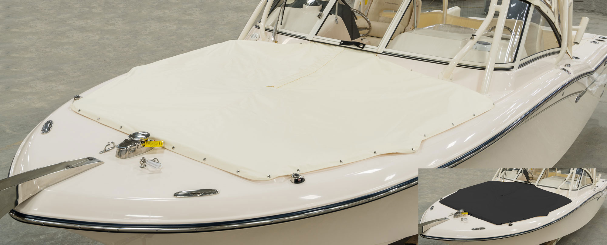 Grady-White Freedom 235 23-foot dual console ivory bow cover