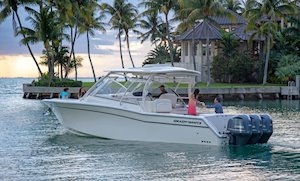 Grady-White Freedom 335 33-foot dual console fishing boat cruising