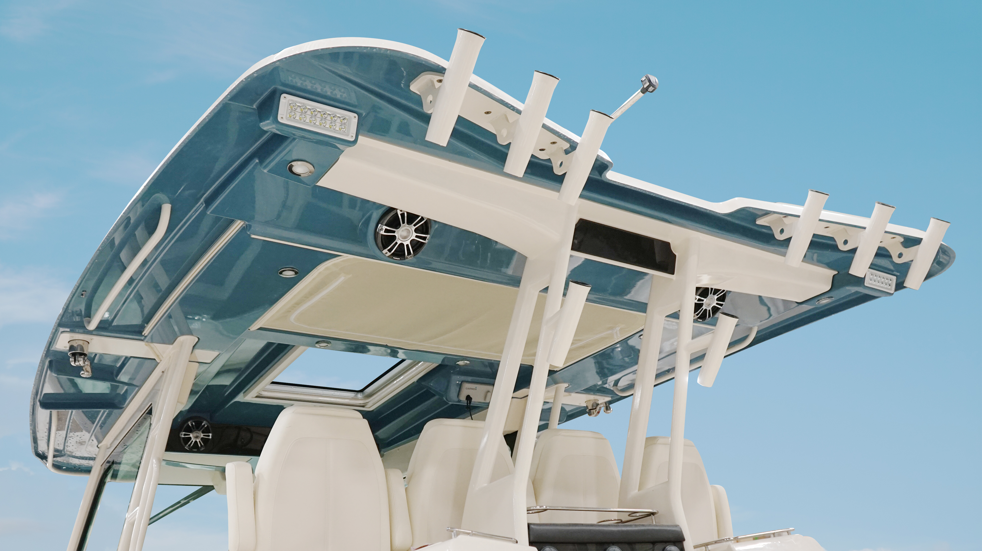 Grady-White Canyon 456, 45-foot center console T-Top with paint to match hull color