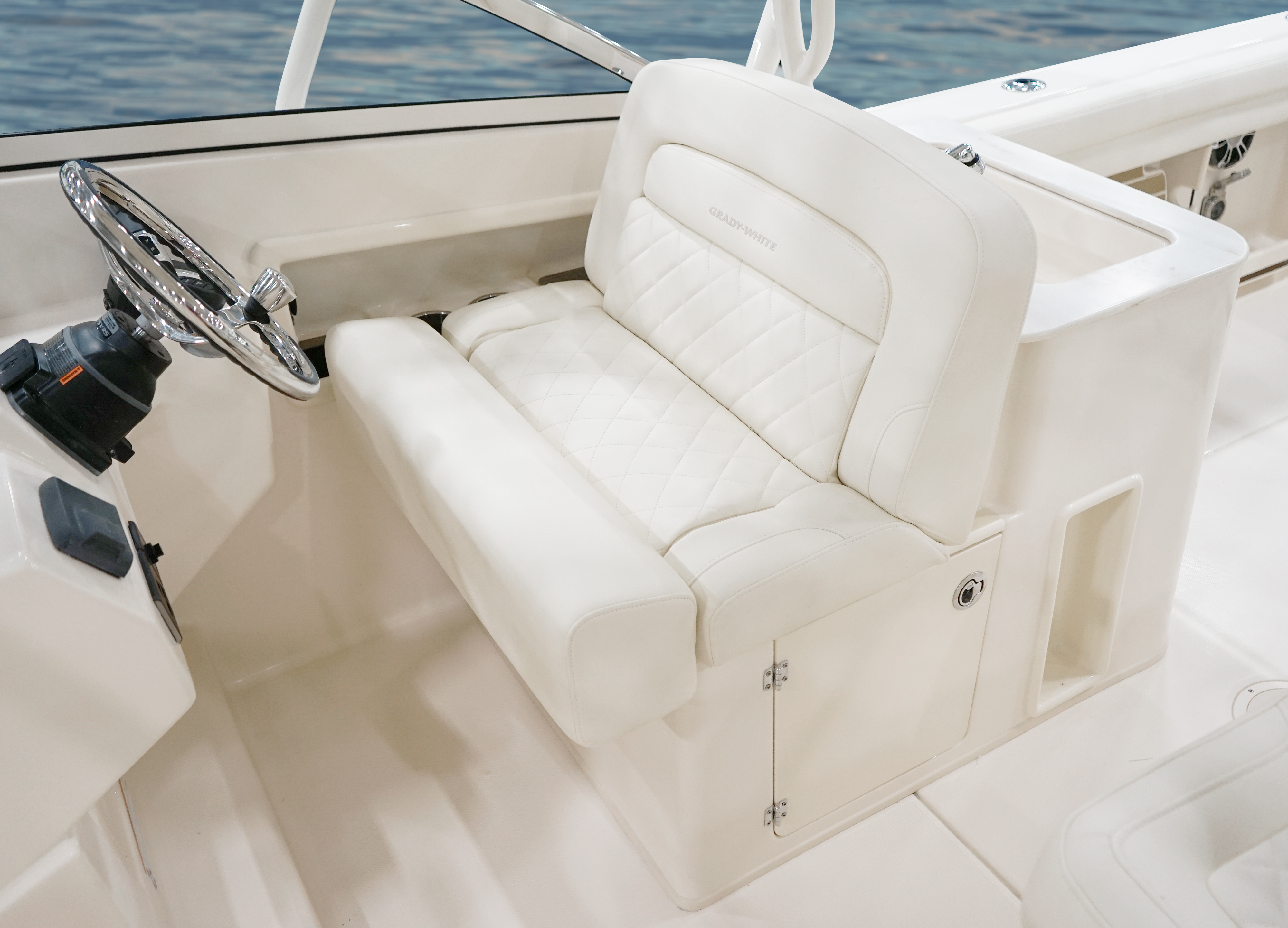 Grady-White Freedom 275 27 foot dual console helm bench seat with flip up bolsters and storage