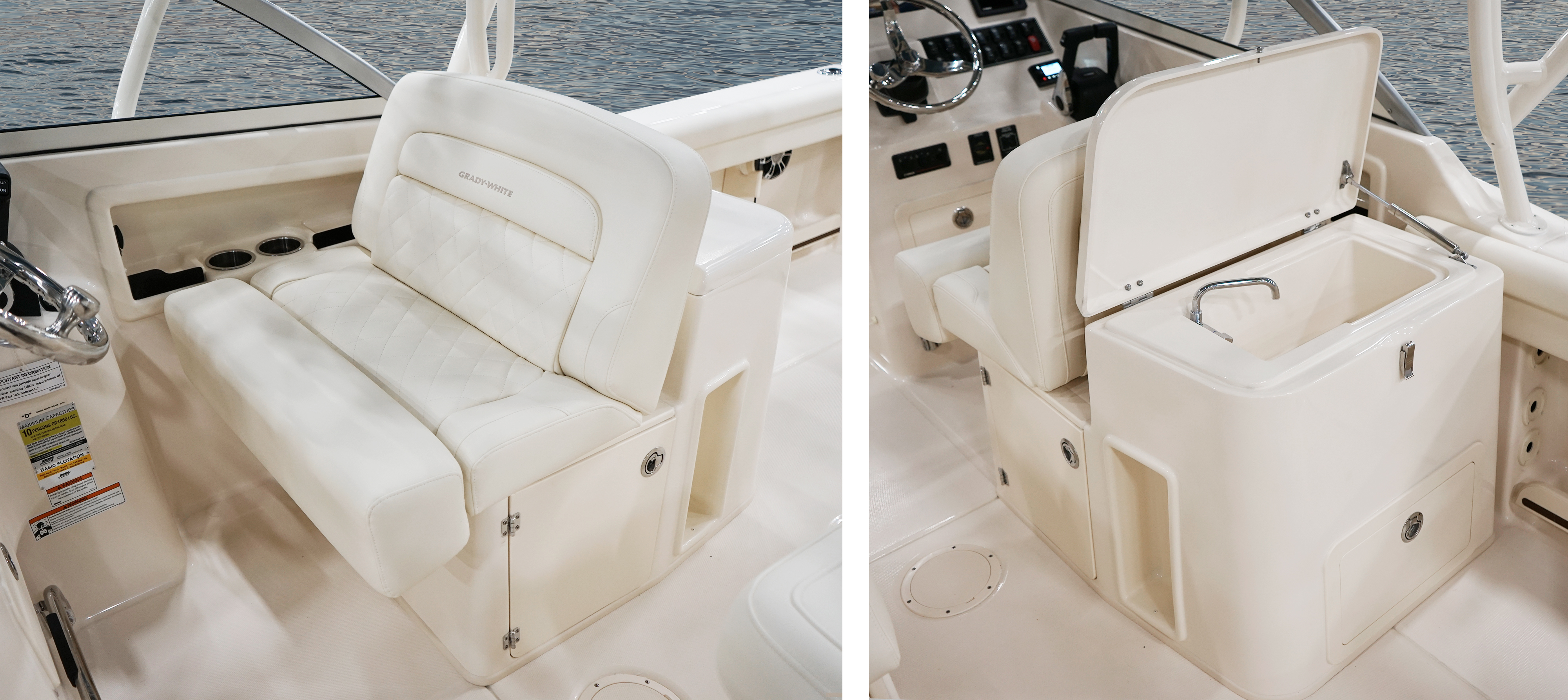 Grady-White Freedom 255 25-foot dual console helm bench seat and wet bar