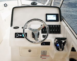 Grady-White Freedom 285 28-foot dual console helm layout with flush mount electronics area