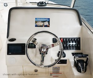 Grady-White Freedom 325 32-foot dual console fishing boat helm station