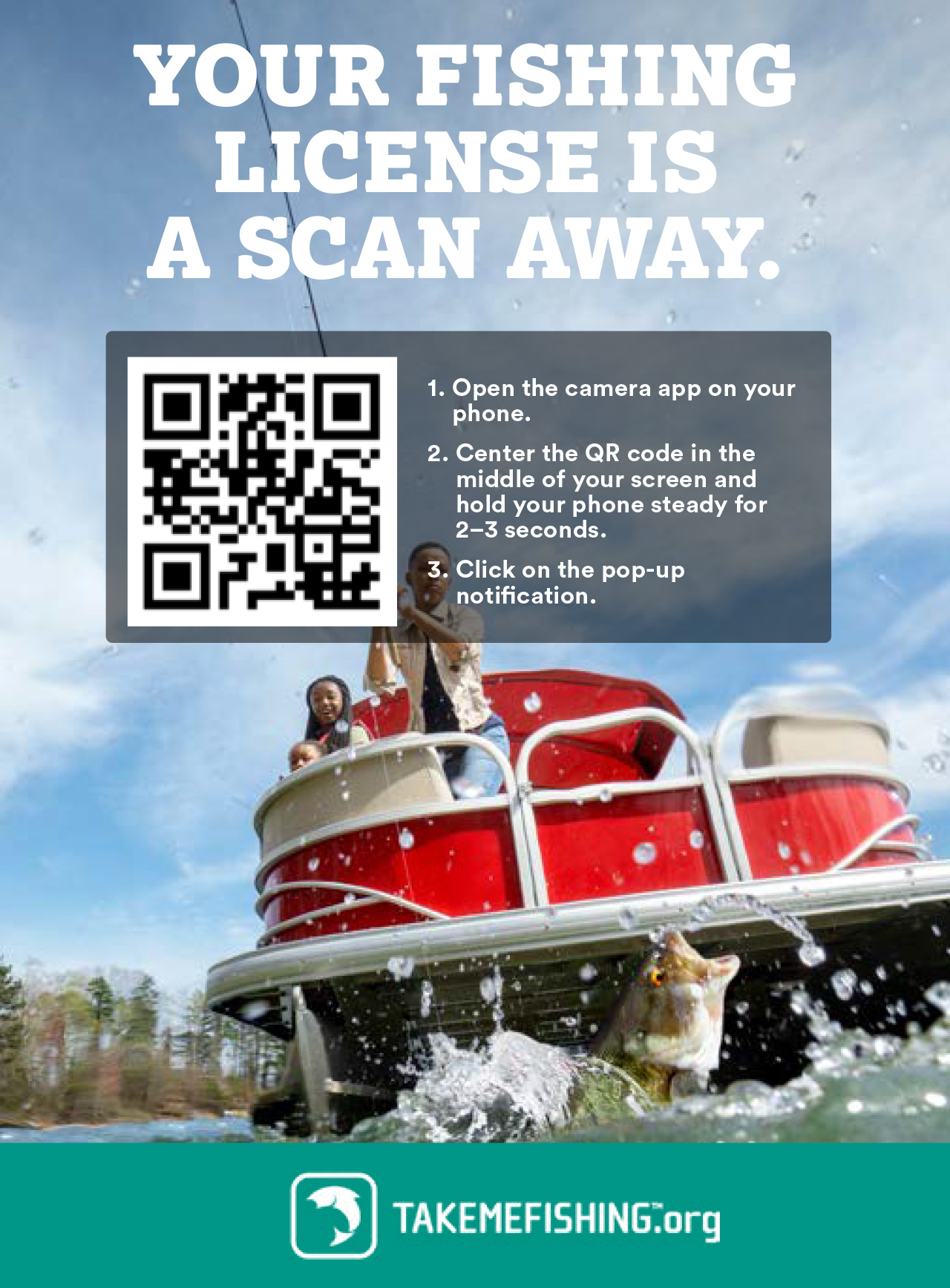 Get your fishing license online with this QR code.