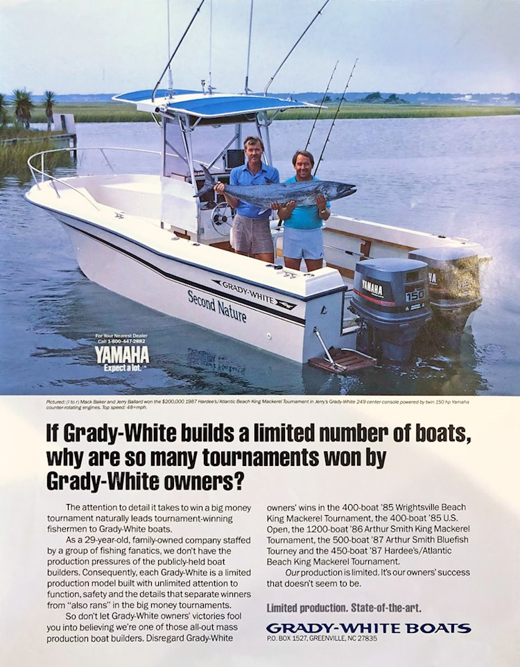 Jerry Ballard was featured in a Grady-White ad in the mid-nineteen eighties.