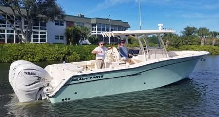 Tim Smith takes delivery of his new center console, a Canyon 336.