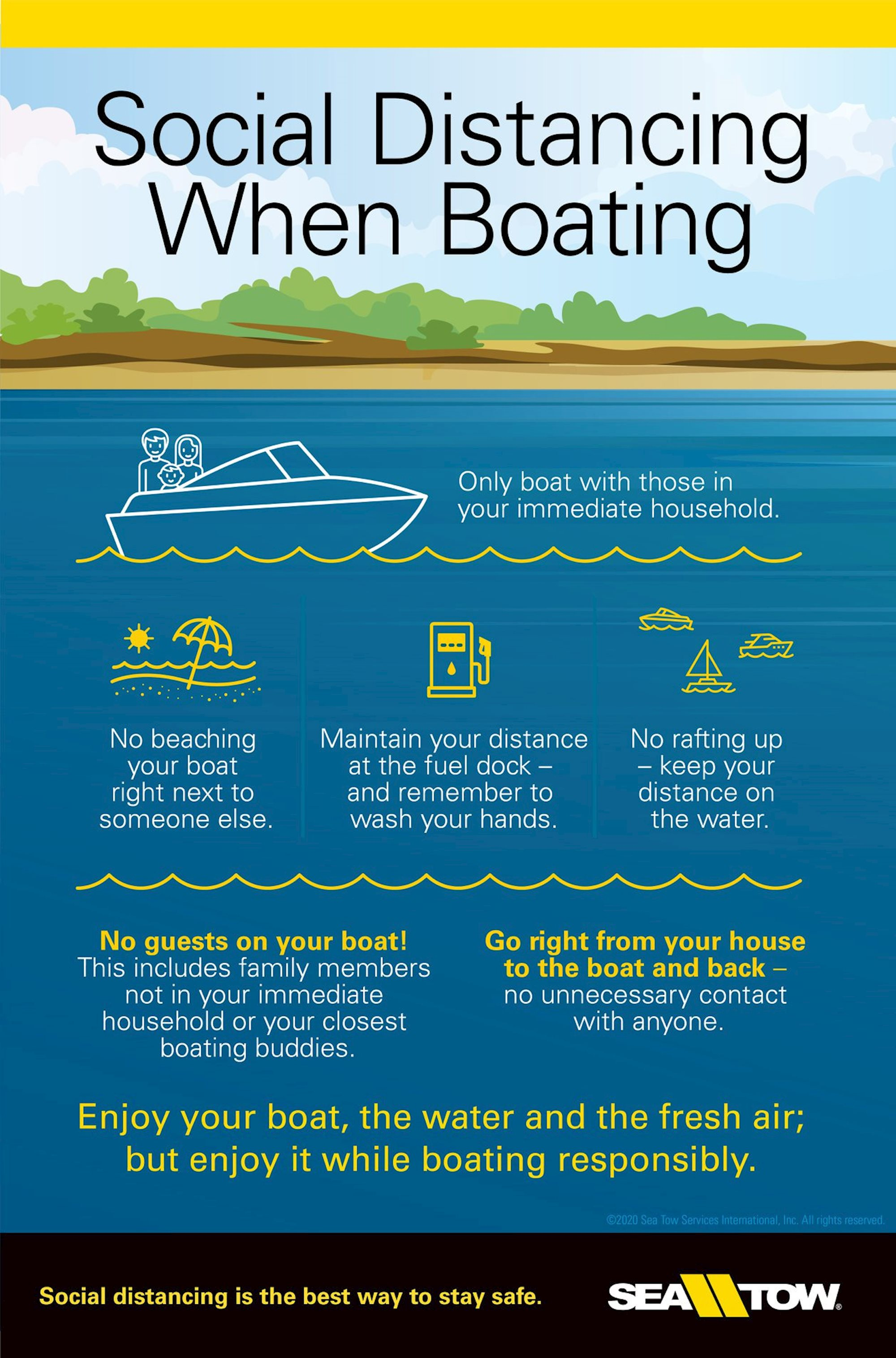 SeaTow's tips on social distancing keep you and your crew safe while boating.