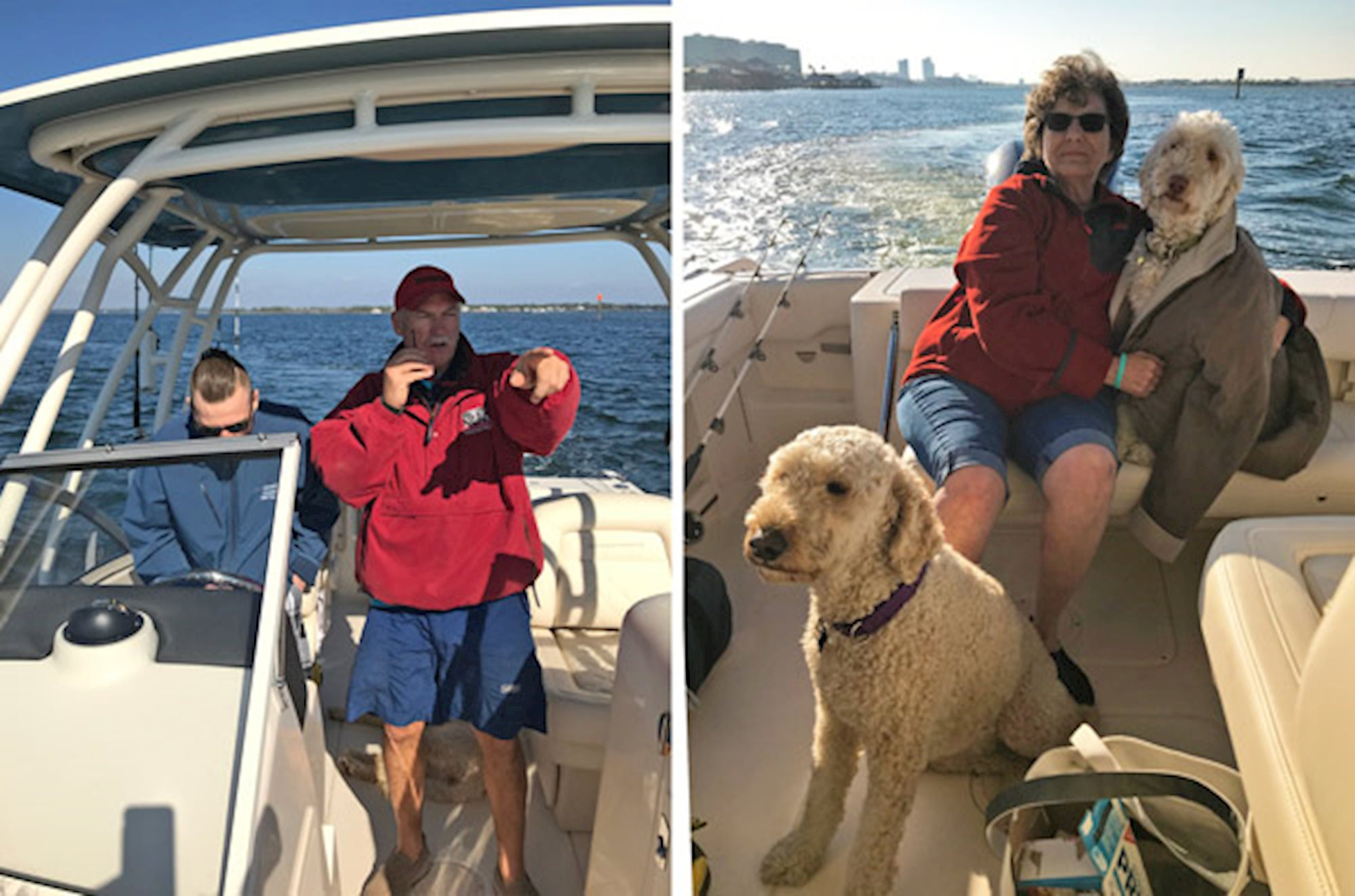 Grady family enjoys a day on the water with their dogs on this dual console boat.