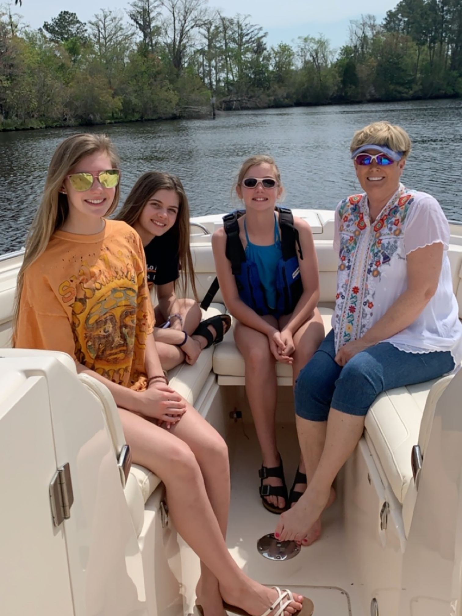 Terry Early's family enjoys a day on the water in their Freedom 325.