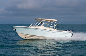 Grady-White Freedom 285 28-foot dual console boat running port side