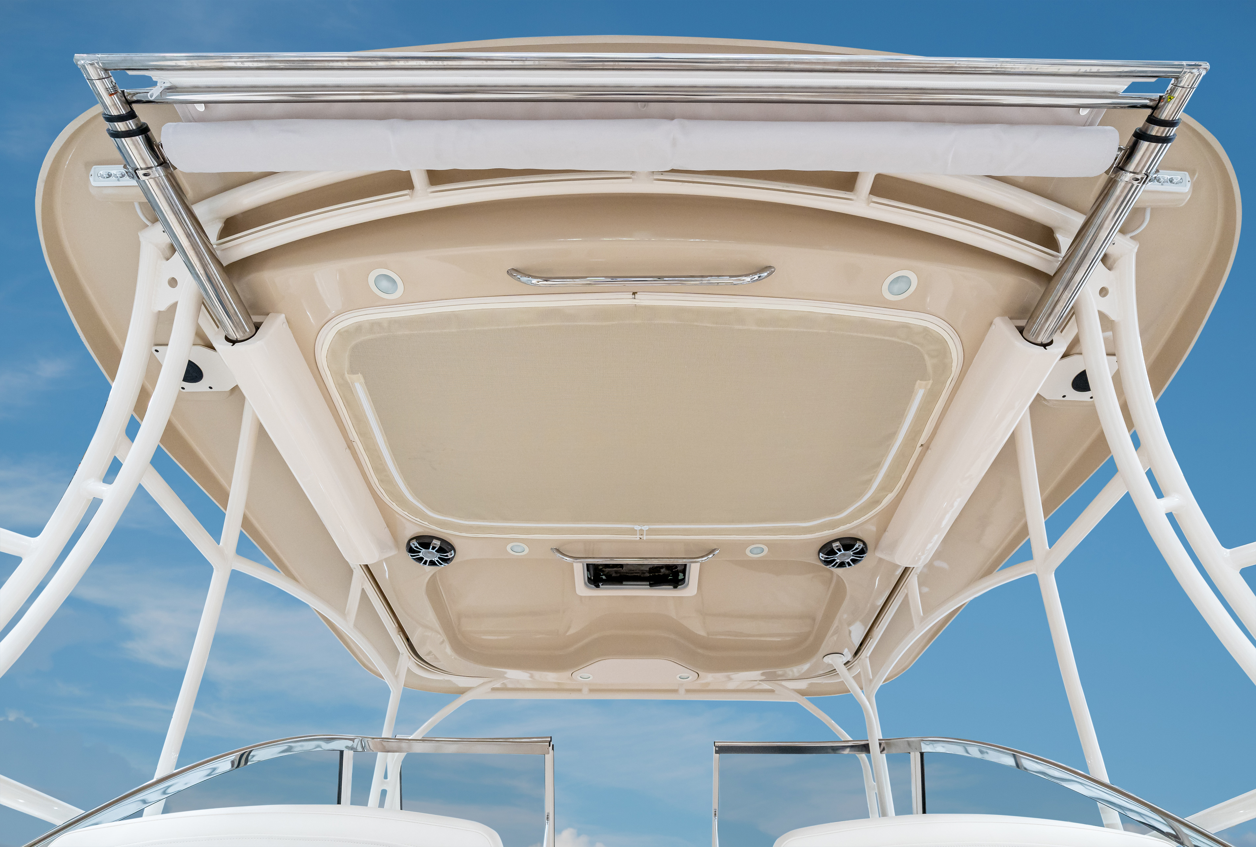 Grady-White Freedom 307 30-foot dual console hardtop color to match hull color