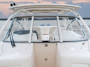 Grady-White Freedom 307 30-foot dual console windshield walk-through with windbreak door