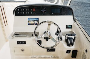 Grady-White Freedom 335 33-foot dual console fishing boat helm station