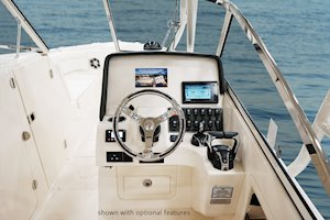Grady-White Freedom 275 27-foot dual console helm layout with flush mount electronics area