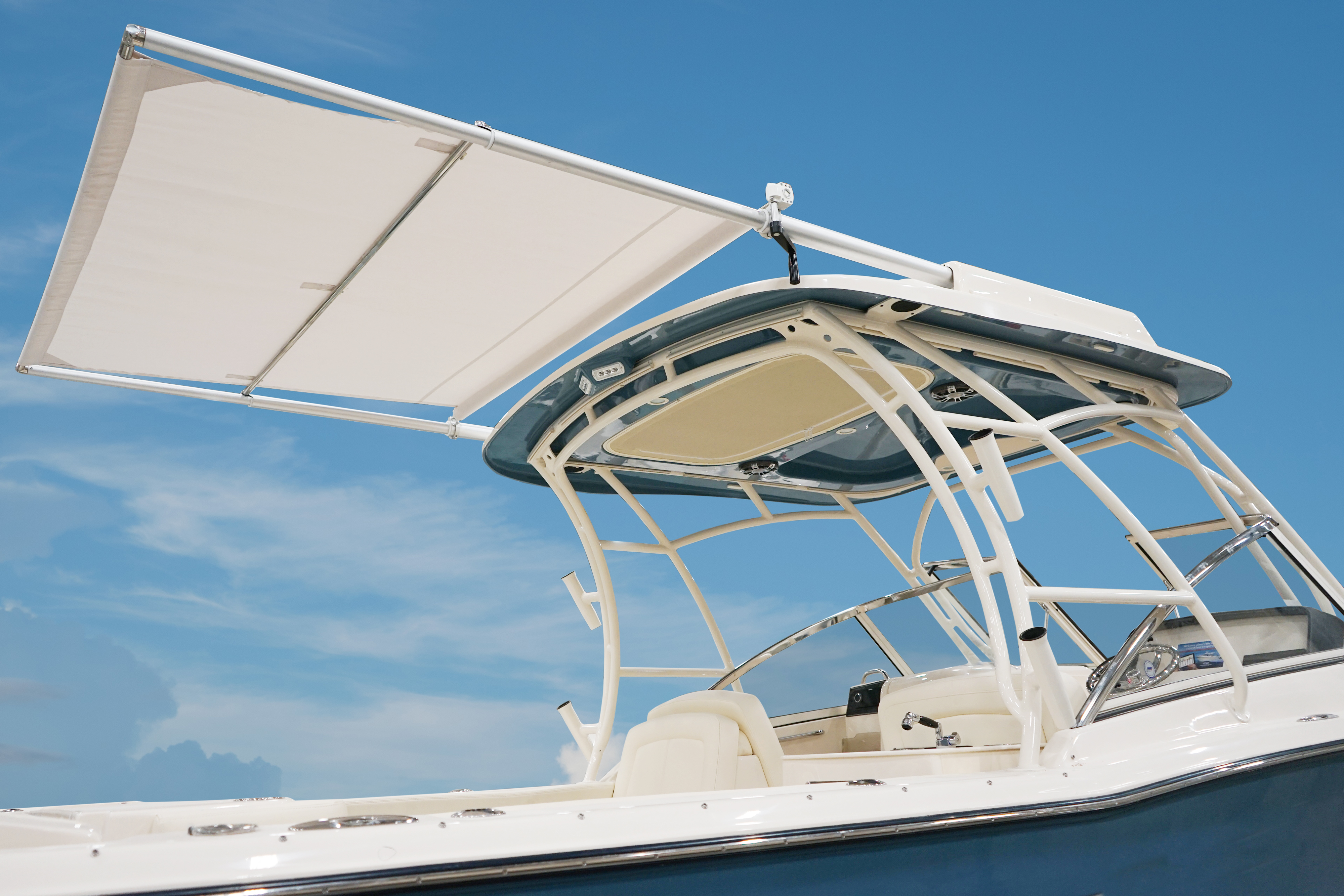 Grady-White Freedom 275 27-foot dual console crank SureShade connected to hardtop