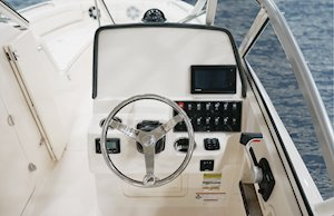 Grady-White Freedom 235 23-foot dual console helm layout with flush mount electronics area