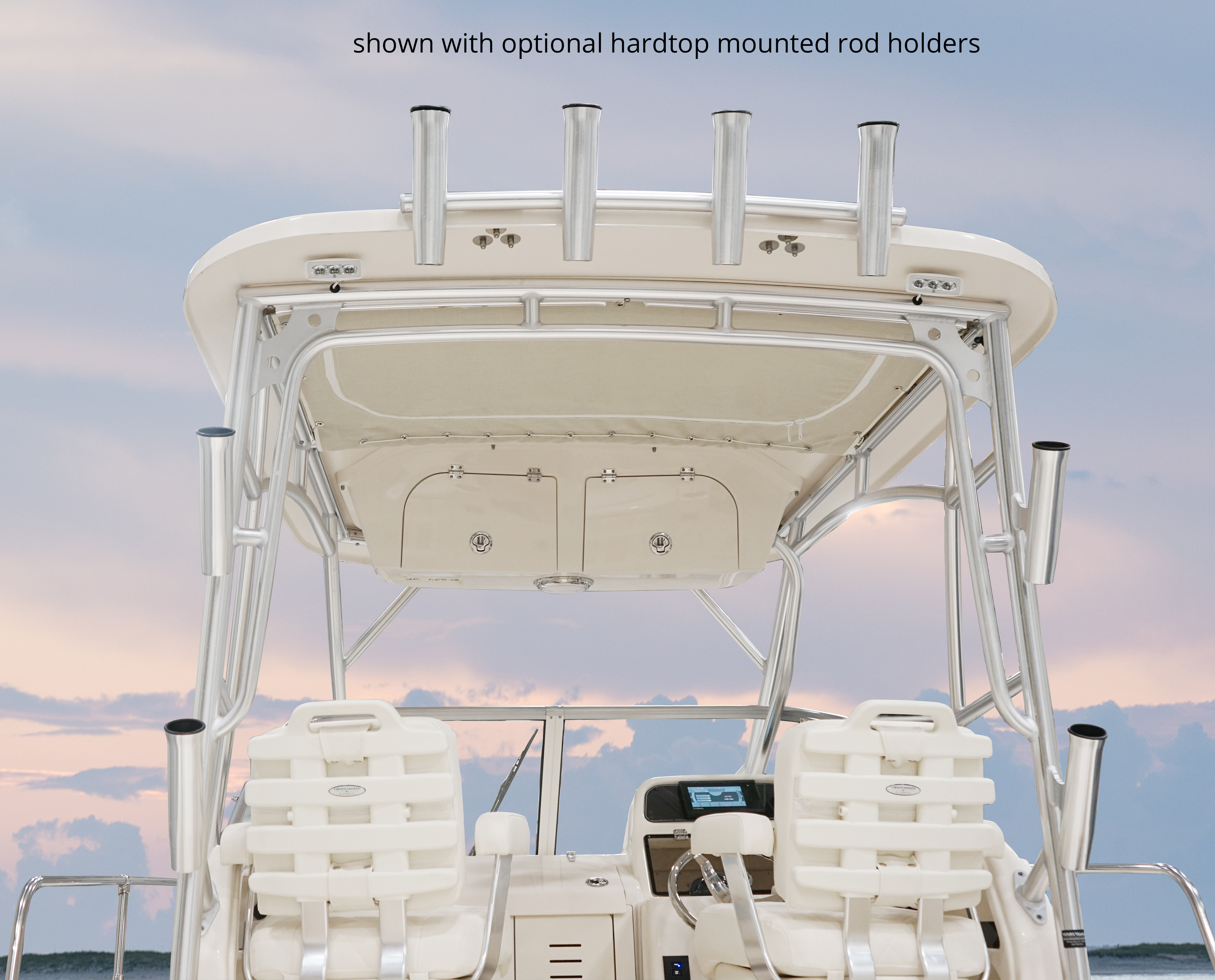 Grady-White Seafarer 228, 22-foot walk around cabin hardtop with storage, rod holders, and lights