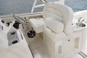 Grady-White Freedom 335 33-foot dual console fishing boat helm seating