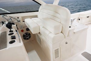 Grady-White Freedom 375 37-foot dual console fishing boat helm seating