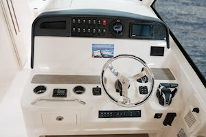 Grady-White Freedom 375 37-foot dual console fishing boat helm station
