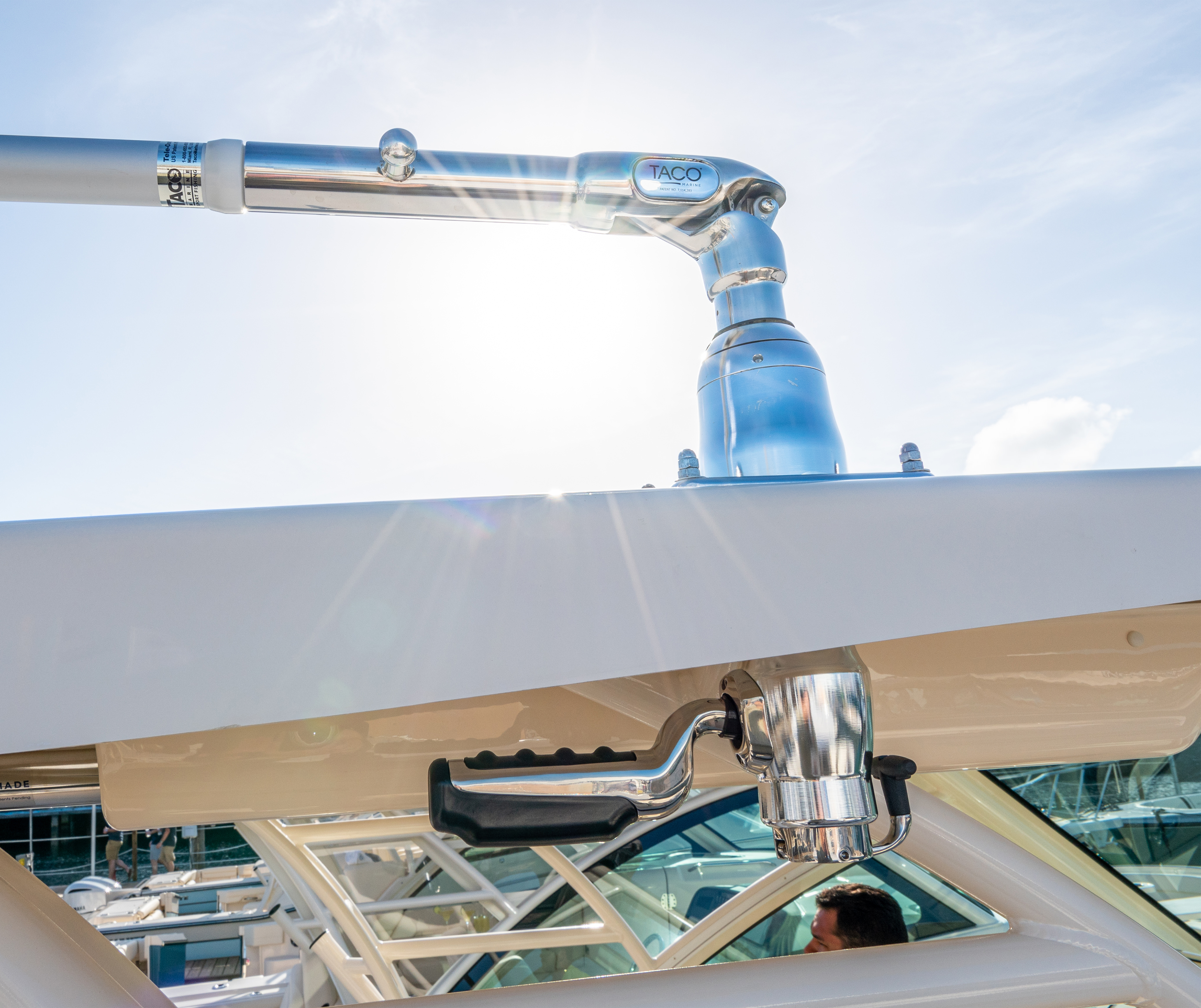 Optional radial mounted outriggers for a Grady-White boat.