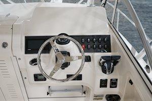 Grady-White Freedom 232 23-foot walkaround cabin fishing boat helm station